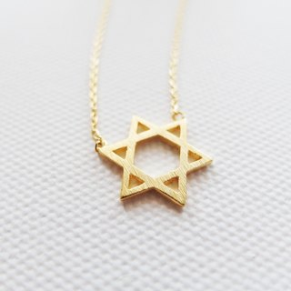 Cha mimi. The Simple Life. Energy hexagram Whispers Jewish Star Hairline fog gold necklace
