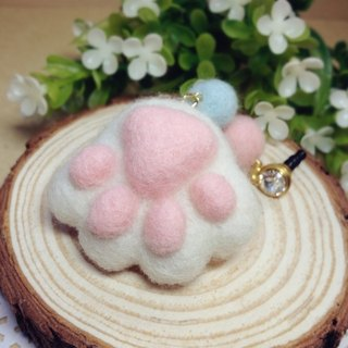 [Cream] wool felt plush fantasy healing system feet sprouting little kitty cat meat ball pads headphone plug dust plug mobile phone strap keychain white cat lovers birthday gift handmade exclusive