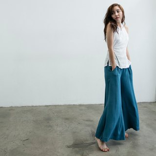 Handmade cotton wide pants - blue