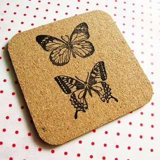 Apu rubber stamp handmade butterfly square cork mat / insulation pad C paragraph