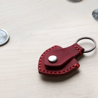 Red hand sewn guitar PICK leather case key holder / change deposit bag