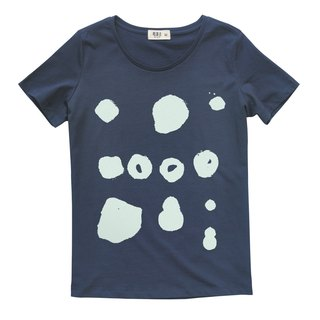 Explications original brand women's cotton round neck short-sleeved T-shirt dark blue abstract point