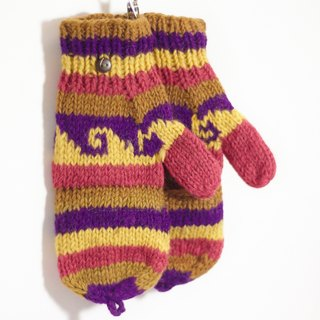 New Year's gift limit a hand-woven pure wool knit gloves / detachable gloves / bristles gloves / warm gloves - pink and purple childlike national totem