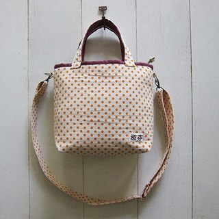 Macaron Collection: Canvas Tote - Small size (Zippered Closure W/ Adjustable & Removable Strap)  Orange Dot + Palevioletred