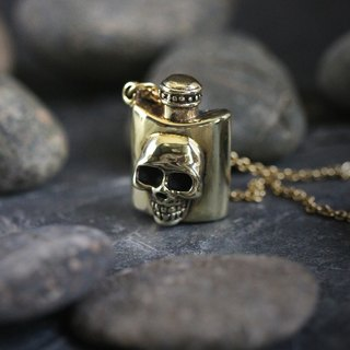 Whisky Skull Bottle Charm Necklace by Defy - Jewelry Accessories