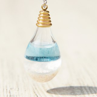Valentine's Day gift / ocean wind / British sense of transparency glass ball necklace - aqua blue ocean