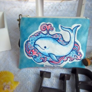 Whale coming out of a fountain of hope coin purses (big size)
