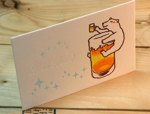 Letterpress greeting cards Love Beer