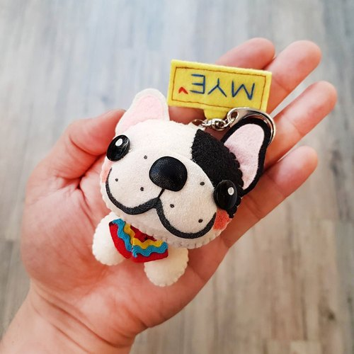 【Cats and cats x city cat】 French Bulldog (right black streaks) Pure hand-stitched Valentine's Day gift custom-made name Memorial puppet hanger / key ring graduation gift birthday gift