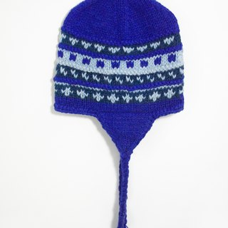 Valentine's Day gift of pure hand-knit wool hat / manual bristles caps / knitting caps / flight caps / wool hat - blue stripes totem (handmade limited one)