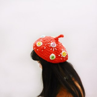Independent Original Series Year crocheted red color dot balabala mushroom Aberdeen beret Christmas gifts