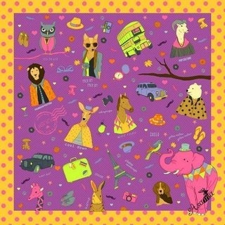Asama designer scarf / pink elephant and friends Pink Elephant (purple)