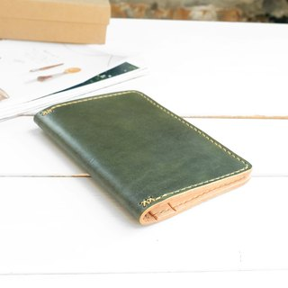Rustic morning tree green hand dyed yak leather handmade passport holder