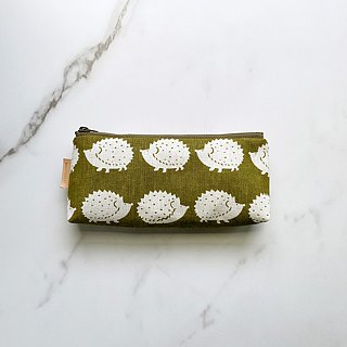 Handmade Hedgehog Pattern Matcha Green Pencil Case