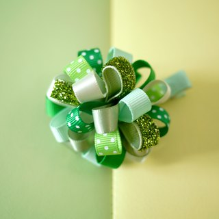 Children hairpins: bright green flower ball loopy puff