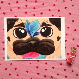 Pug Postcard-The Lucky Butterfly