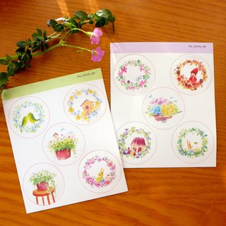 Flower circle stickers set