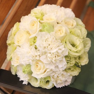 Flowers - [Combination] Exquisite Flower Bouquet & Corsage White Green B-WG02
