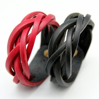 Limited color - woven leather bracelet / 2.5cm five-strand