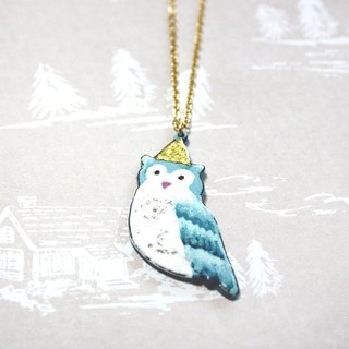 Party owl --- enamel necklace limited winter