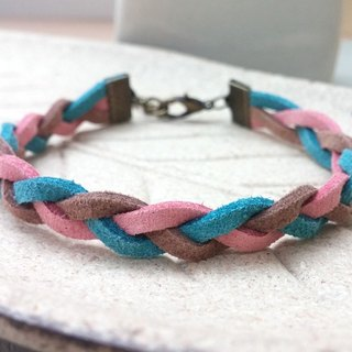 ♥ HY ♥ hand-made x woven bracelet tricolor simple fresh blue and coffee