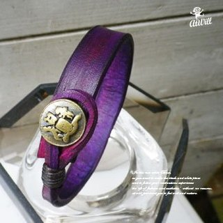 Atwill. SHAPE handmade original color nail button leather bracelet / deep purple x yellow bronze