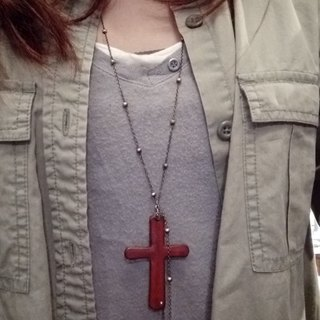 Lucky Cross Leather Necklace - second-generation / two co
