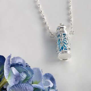 Neve Jewelry Blue Ocean Perfume Bottle Necklace (blue / silver)