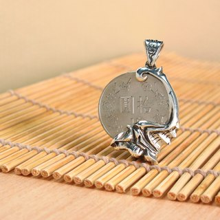Manual Design Silver Jewelry ~ Silver Dollar Money Clip ~ Fu Ying Silver Dollar Chinese Style (Without Chain) ART64