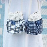 :: :: Dorsal bucket bag bangs tree _ painted blue plaid (Limited Tokyo style / shelf in)