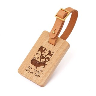 Custom Wooden Luggage Tag (European Beech - Happy Zoo)