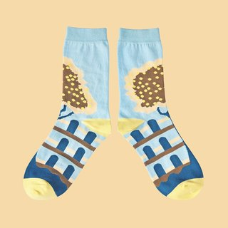 Fruit Tree Sky Blue Unisex Crew Socks | colorful fun & comfortable socks
