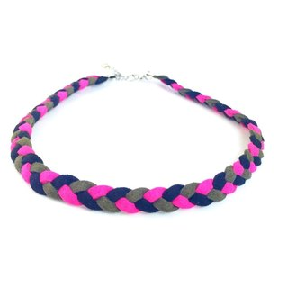 Black light green - tri-color twist braid Necklace