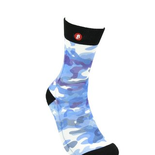 Hong Kong Design | Fool's Day stamp socks -Abstract Blue Camouflage 00196