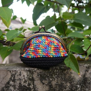 Minibobi hand-woven - Bronze Qiaoqiao mouth gold bag / purse - black X Rainbow line / New Year / gift