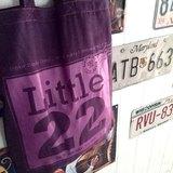 旅行郵戳紀念xLittle22品牌LOGO/仿麂皮布料質感x膠印提袋♡藍莓小鬆糕