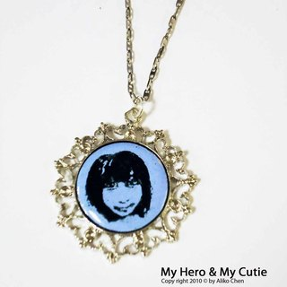 My Hero & amp; My Cutie Personalized custom portrait enamel necklace A Valentine's Day gift