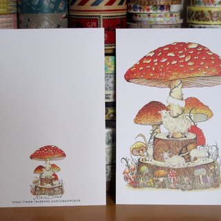 Mushrooms and sheep postcard