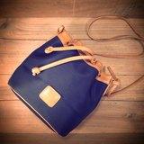 [ 老骨頭 ] Courreges 深藍色帆布x焦糖色 真皮 側背 水桶包 絕版真品 古董包 Vintage
