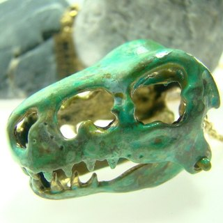 T-rex skull Pendant in brass with green patina  color ,Rocker jewelry ,Skull jewelry,Biker jewelry