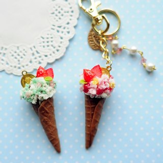 Summer bouquet ice cream cones - strawberry mint flowers & amp; strawberry small pink flower / two flavors