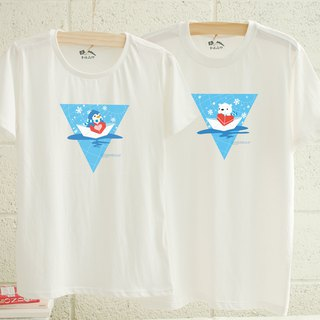 [Valentine's Day Gift] Antarctic Penguin and Polar Bear Couples with Sisters Cotton T Short Sleeve T-shirt