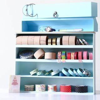 Solid color paper tape storage box dark blue