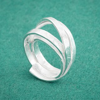 Japanese silver ring - Free size ring - Linear band design - Paper chain series