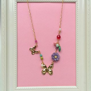 Butterfly's world (purple) 24k gold-plated brass hypoallergenic necklace