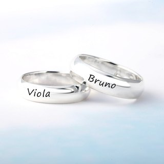 Customized Rings Lovers Ring 6mm Arc Lettering English Text Name Sterling Silver Ring