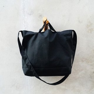 2 way canvas tote bag-Black. Short handle