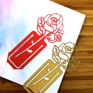 [Desk + 1] Rose Bookmarks (Red + Gold) Double Pack