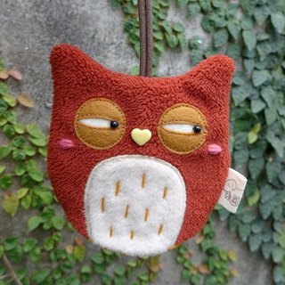 Owl key bag - (brick orange)