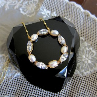 ∴Minertés = pearl, zircon, circle brass necklace = ∴